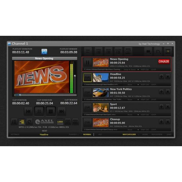 Axel You Play BROADCAST TV Player 2 channels HD/SD software licence