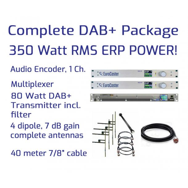 Complete DAB+ Packages 80W RMS / 350W ERP 1 Channel