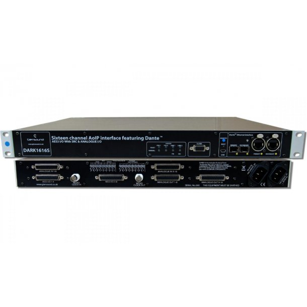 Glensound Dark1616S audio interface for Dante/ AES67
